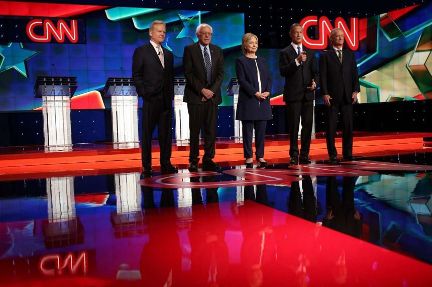Democratic presidential candidates shortly before the start of the first Democratic presidential debate at the Wynn Las Vegas resort and casino on Oct 13, 2015.
