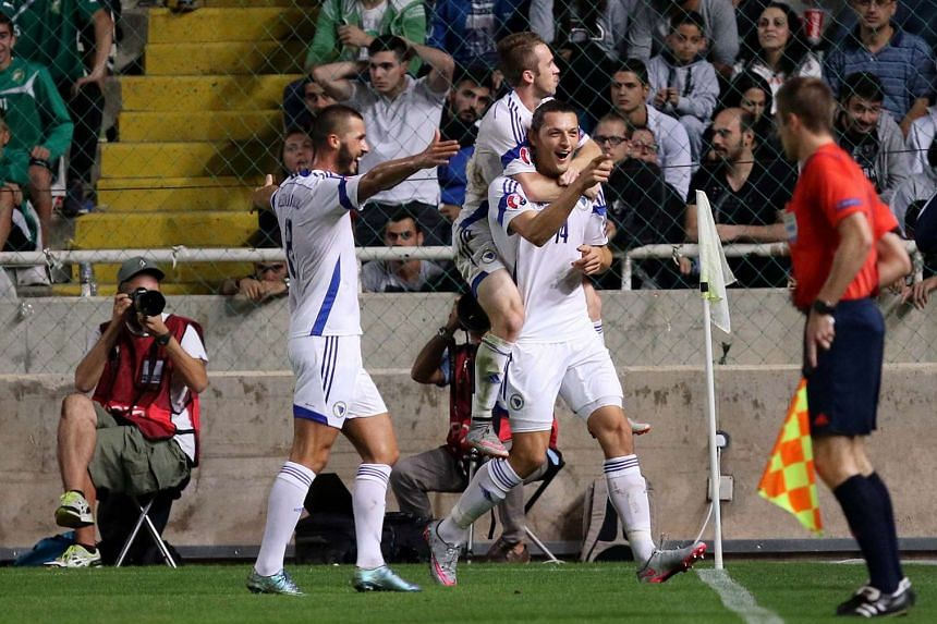 Bosnia and Herzegovina players celebrate the 3-2 lead during the Uefa Euro 2016 Group B qualifying round match against Cyprus, at GSP Stadium, Nicosia, Cyprus, on Oct 13, 2015.