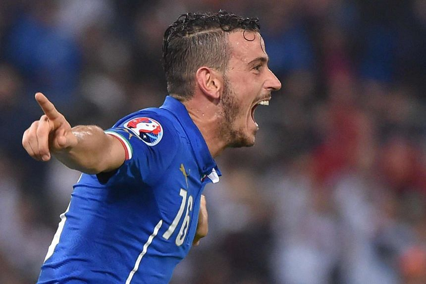 Italy's Alessandro Florenzi jubilates after scoring a goal during the Uefa Euro 2016 group H qualifying soccer match against Norway in Rome on Tuesday.