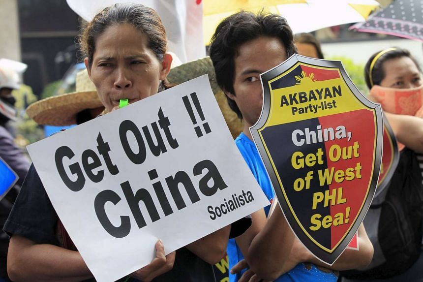 Protesters rally over disputed islands in the South China Sea in the Philippines in July 2015.
