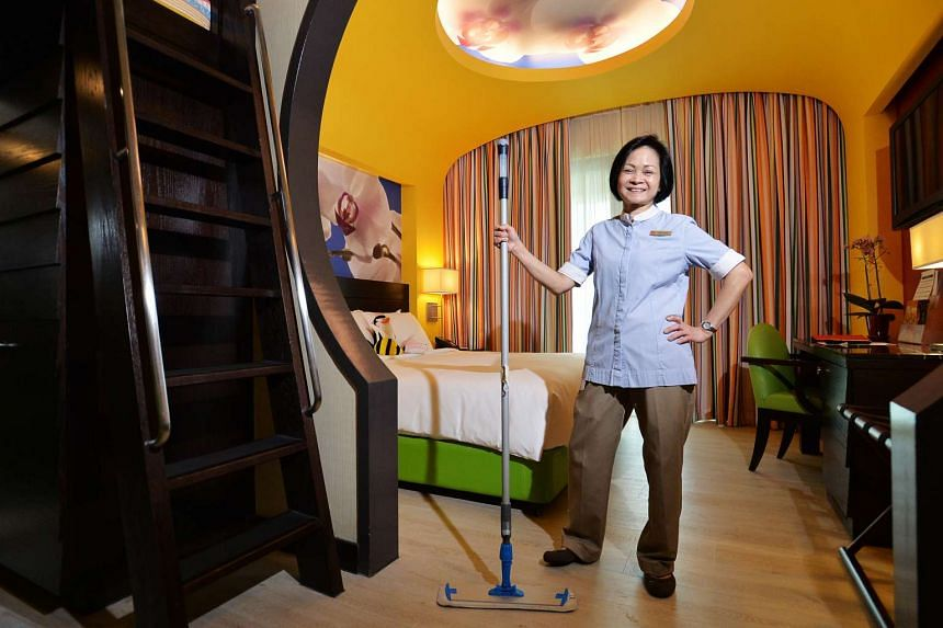 Madam Woon Yoke Chan now cleans about 16 rooms a day, after a major refurbishment at Festive Hotel.