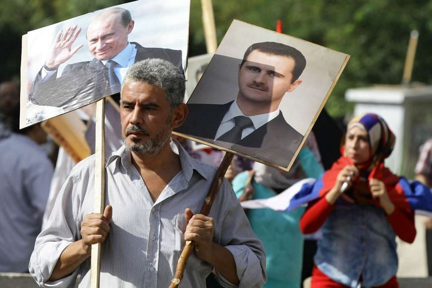 About 300 people had gathered near the Russian embassy in Damascus when the two rockets hit.