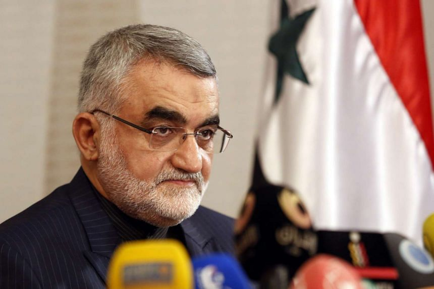 Alaedin Boroujerdi, chairman of the Iranian parliament's national security and foreign policy committee, speaking during a press conference in Damascus, Syria, on Oct 15, 2015.