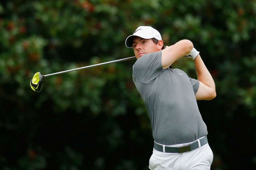Rory McIlroy hitting his tee shot on the fifth hole during the final round of the Tour Championship By Coca-Cola on Sept 27, 2015.