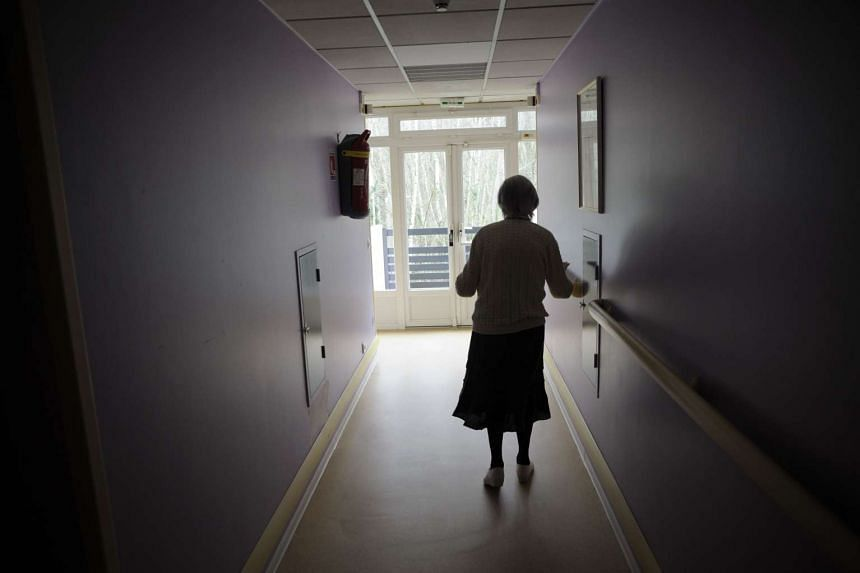 An Alzheimer's sufferer at a retirement home in Angervilliers, eastern France.
