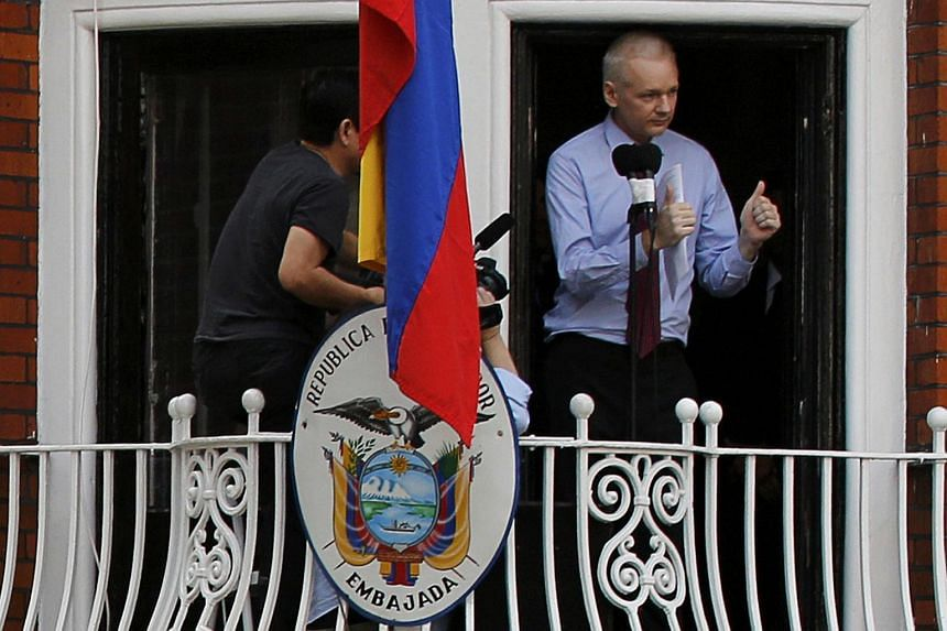 Wikileaks founder Julian Assange speaking from the balcony of Ecuador's embassy in London in this Aug 19, 2012 photo.