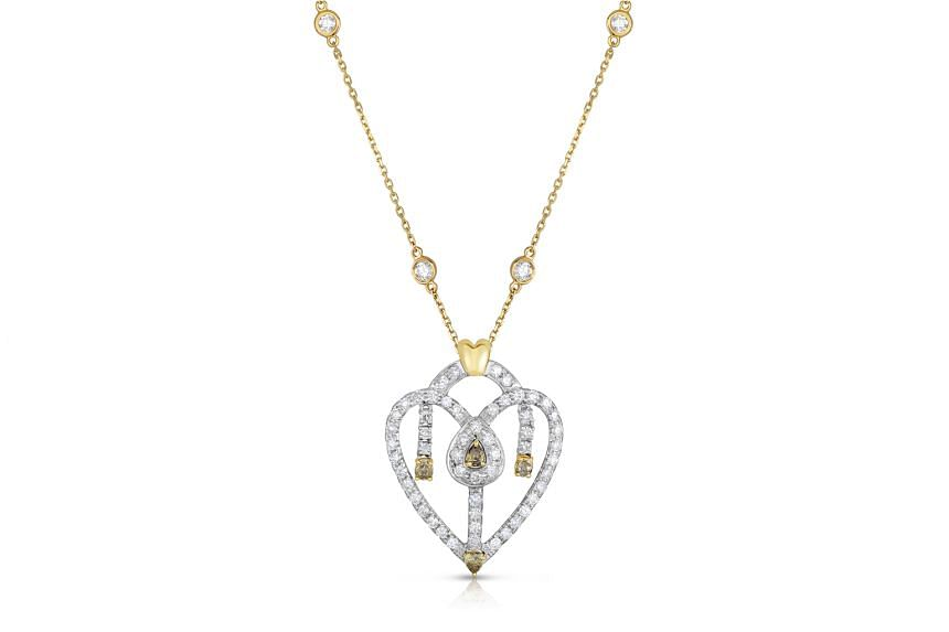 The Americas: Diamond heart pendant worth 2.38 carats, $4,340, by American label Mordechai Collection.