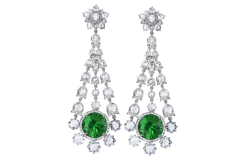 Emerald and diamond earrings, $130,000, by Taiwan brand Sequins Jewelry.
