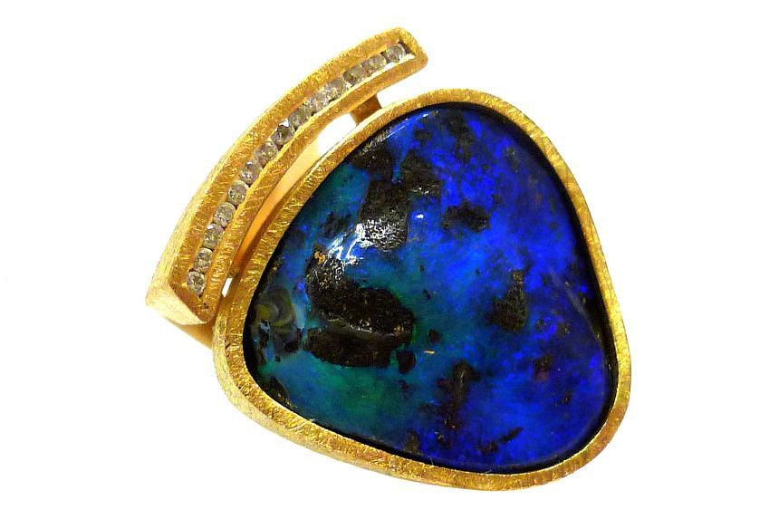 Opal boulder and diamond ring, $3,800, by Brazillian brand Ame Gallery.