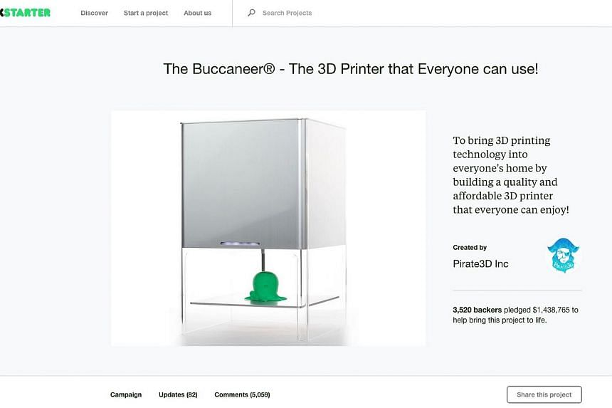 Singapore startup Pirate3D, maker of the world's cheapest 3D printer, has failed, leaving about 60 per cent of its backers without the promised 3D printer they funded.