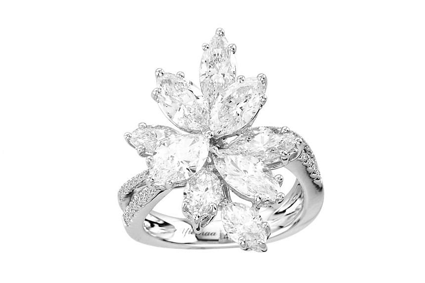 The Americas: Ring with 3.62 carat diamond in 18K white gold, price unavailable, by American label S.J. Solitaire Jewels.