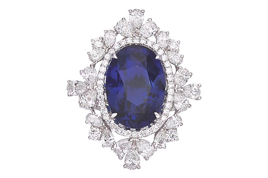 Sapphire and diamond ring, price unavailable, by Hong Kong brand Fook's Jewelry.