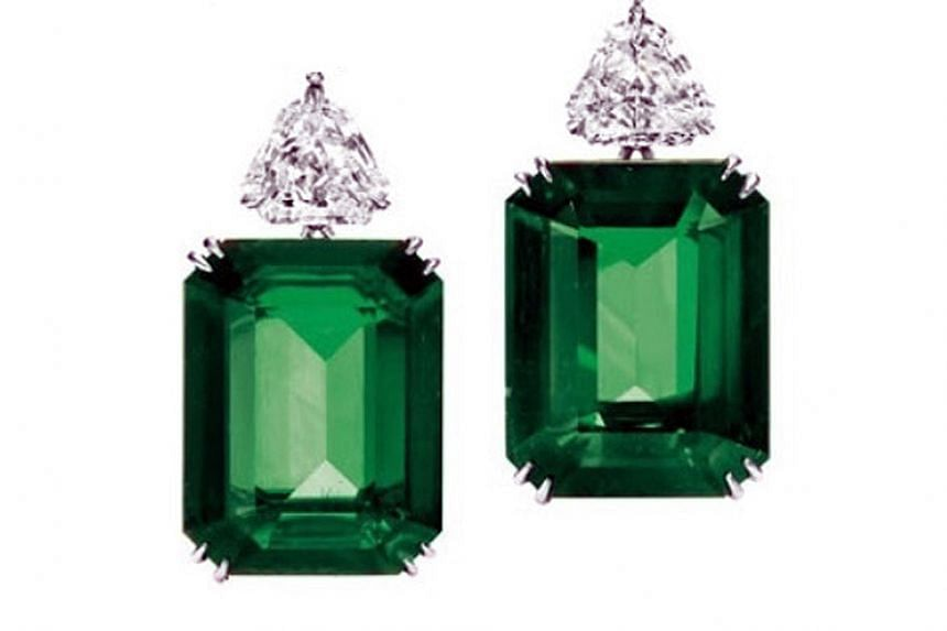 The Americas: Emerald earrings, price unavailable, by American label Morcha.