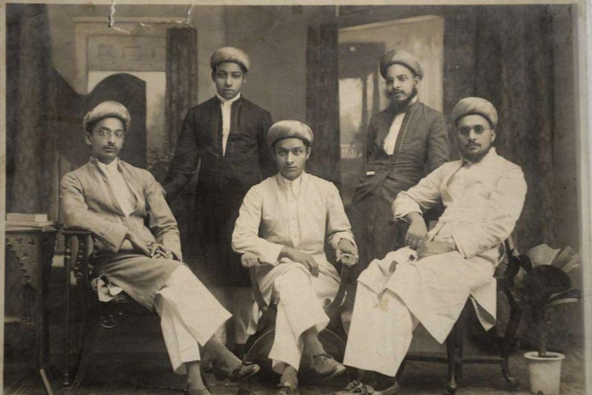 Mrs Rosy Nakhooda's father Khadubhai Mamajiwalla is seated at far left in this picture of Dawoodi Bohra merchants in Rangoon, Burma, in the 1920s.