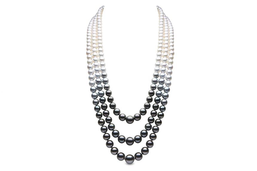Tahitian, South Sea and freshwater pearl necklace in 18K white gold, $38,134, by British brand Yoko London.