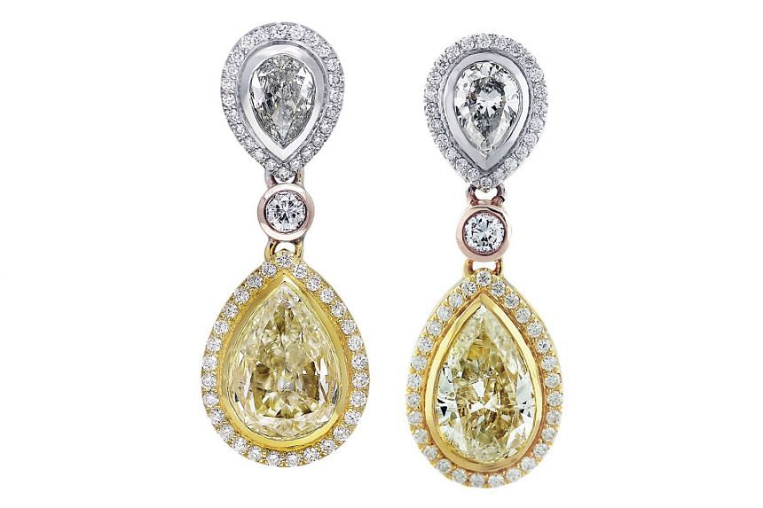 Middle East: Yellow and white diamond earrings in 18K white and yellow gold, price unavailable, by Yoel Deil Diamonds.