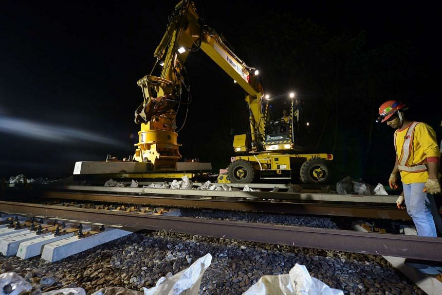 Sleepers being replaced between Kranji and Marsiling MRT stations in 2011.