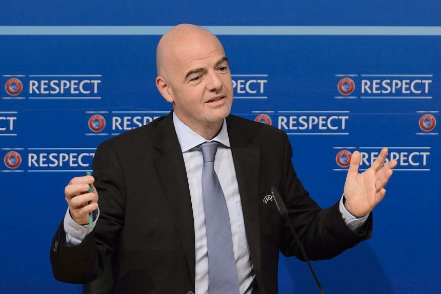 Uefa General Secretary Gianni Infantino gives a press conference following a Uefa Executive meeting on Oct 15, 2015 at the European football's governing body headquarters in Nyon.
