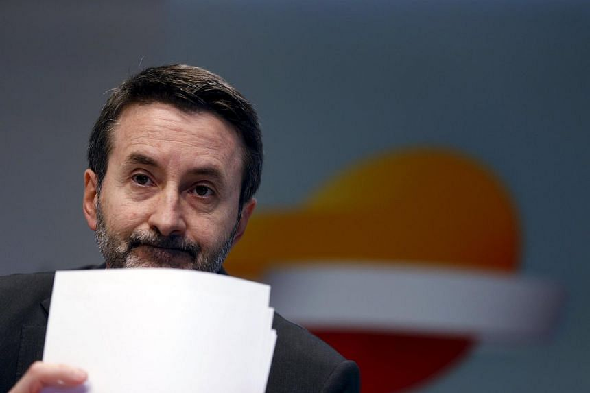 Repsol CEO Josu Jon Imaz at a news conference in Madrid yesterday. Mr Imaz said the company is committed to maintaining its investment-grade credit rating and preserving dividends.
