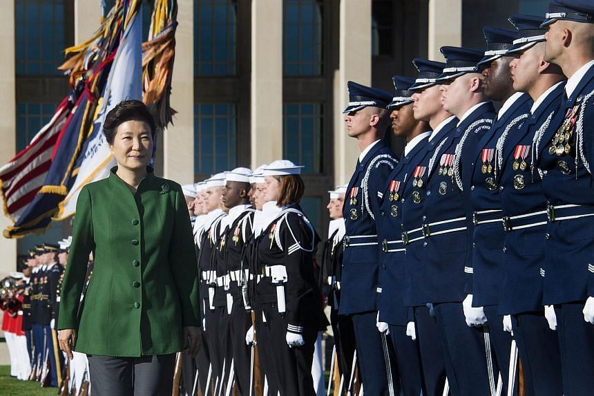 President of South Korea Park Geun Hye (left) participating in a full military honours parade at the Pentagon in Washington DC, on Oct 15, 2015.