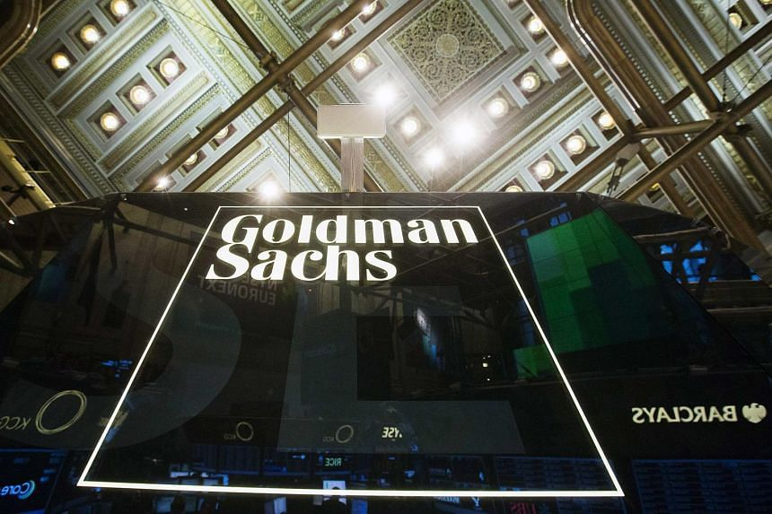 A Goldman Sachs sign is seen above the floor of the New York Stock Exchange.