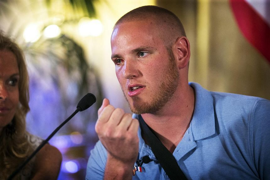 Mr Spencer Stone at a press conference at the US embassy in Paris, France on Aug 23, 2015.