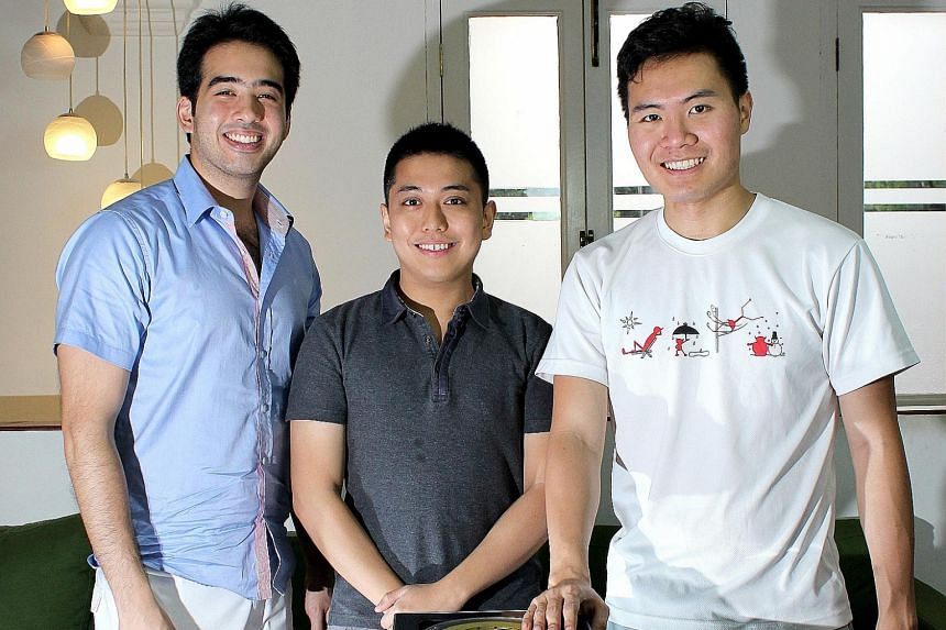 Home-grown start-up Pirate3D's founders (from far left) Brendan Goh, Tsang You Jun and Roger Chang with the Buccaneer 3D printer, in a file photo from last year. Delays in the project, apparently due to poor planning and lack of skills, have led to o