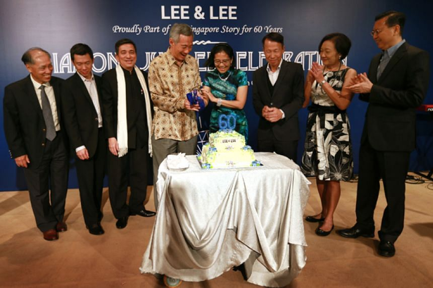 PM Lee Hsien Loong at a staff party on Oct 15 to celebrate law firm Lee & Lee's 60th anniversary.