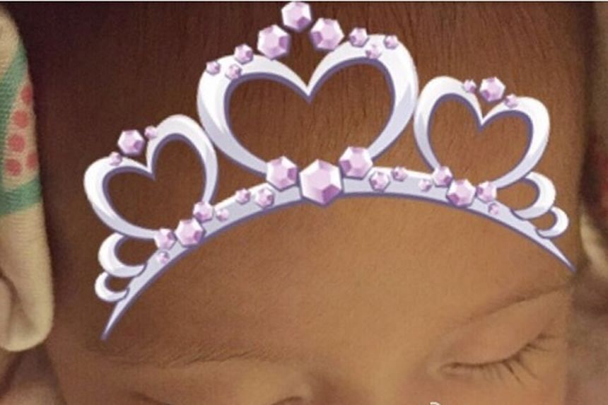The photo posted by Hannah Quinlivan shows the top half of baby Hathaway's face.