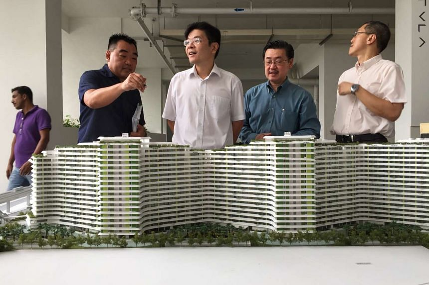 National Development Minister Lawrence Wong at the Waterway Terraces in Punggol.
