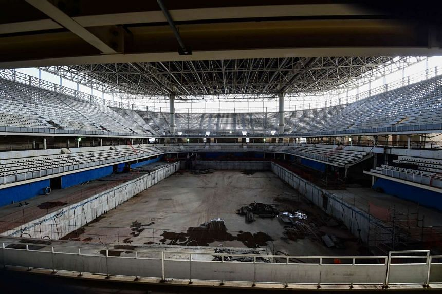 View of the construction site of the Olympic Aquatics Stadium at Rio Olympic Park in Rio de Janeiro, Brazil, on Oct 6, 2015. The Olympic Aquatics Stadium will host swimming and water polo competitions during the Rio 2016 Olympic games.