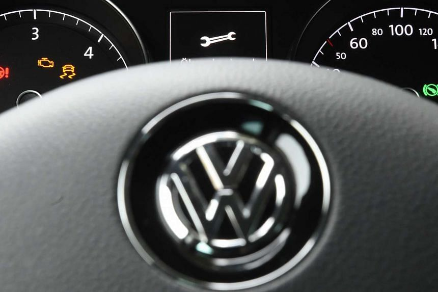 A symbol of a wrench is seen on the dashboard of a Volkswagen Golf in Leipzig, Germany, on Oct 9, 2015.