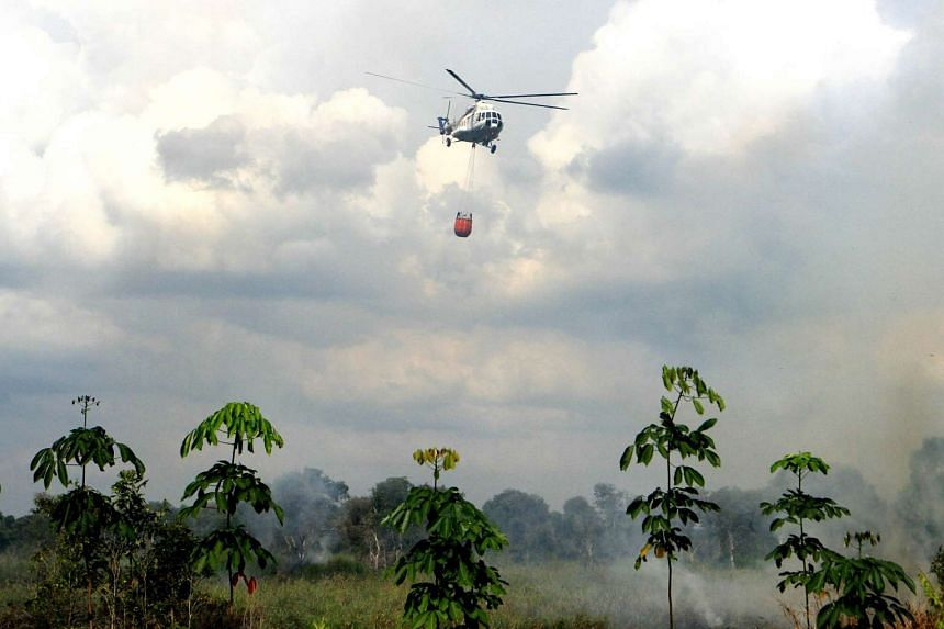 A helicopter from South Sumatra's Agency for Disaster Management putting out a forest fire in Ogan Ilir on Aug 1.