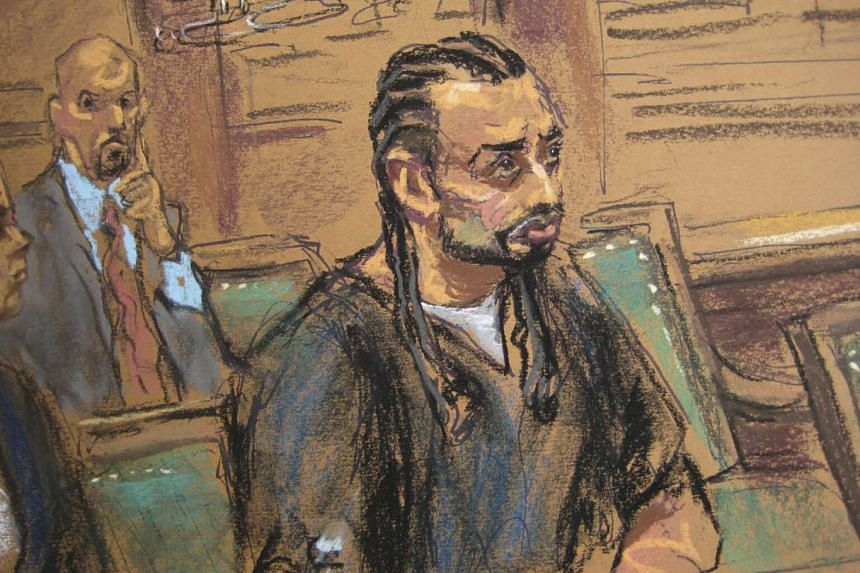 Haroon Aswat, 41, is shown in this courtroom sketch during sentencing in a New York Federal court on Oct 16.