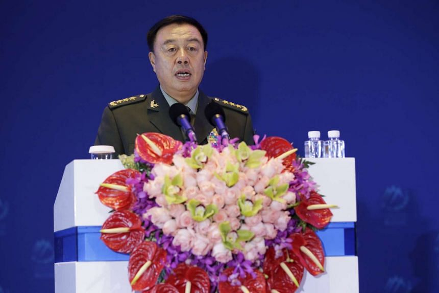 China's Central Military Commission Vice Chairman Fan Changlong delivers a speech at the sixth Xiangshan Forum in Beijing, China, Oct 17, 2015. China's building activities in the South China Sea will not affect freedom of navigation and China will ne