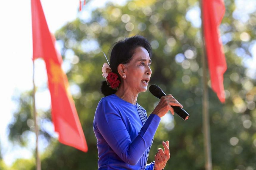 Ms Aung San Suu Kyi addressing supporters during an election campaign trip in the town of Thandwe on Oct 17, 2015.