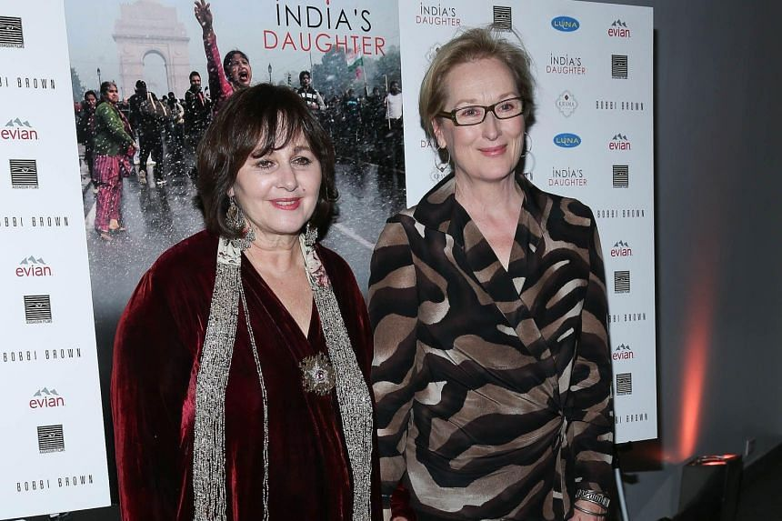 Oscar-winning actress Meryl Streep (right) with India's Daughter director Leslee Udwin at the film's New York premiere.