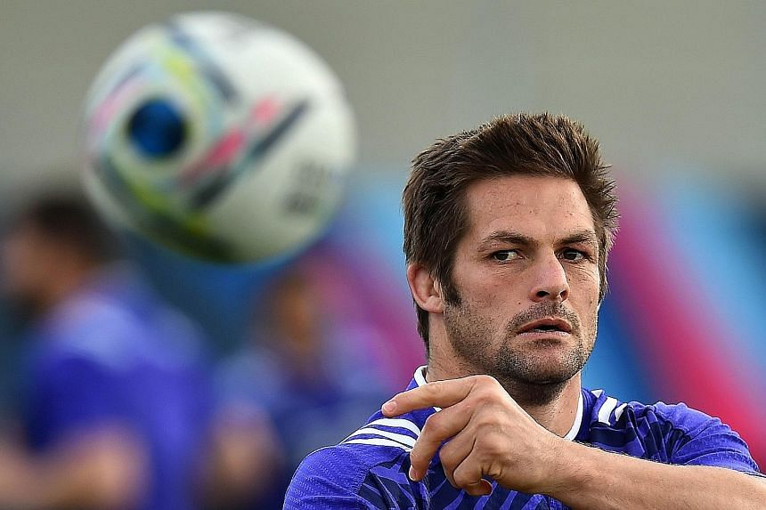 New Zealand will count on the guile and experience of veterans like Richie McCaw (above, in training) against France in today's quarter-final.