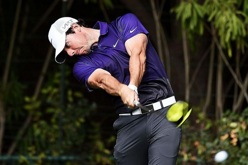 Rory McIlroy of Northern Ireland on his way to a four-under 68 in the first round of the Frys.com Open on Thursday. He lies five shots behind leader Brendan Steele.