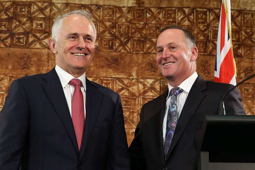 New Zealand Prime Minister John Key (right) and Australian Prime Minister Malcolm Turnbull during a press conference at Government House in Auckland on Oct 17.