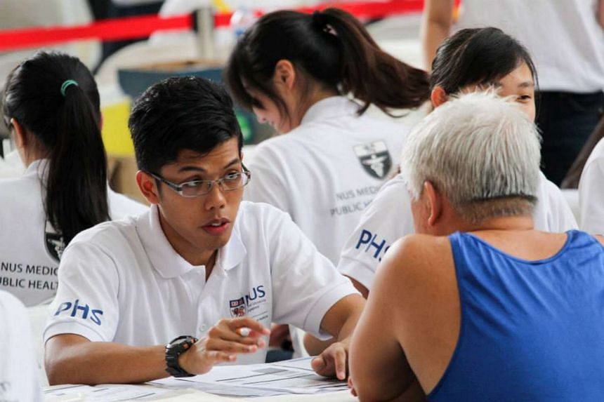 The free health and dental screening is organised by medical and dentistry undergraduates from the National University of Singapore.