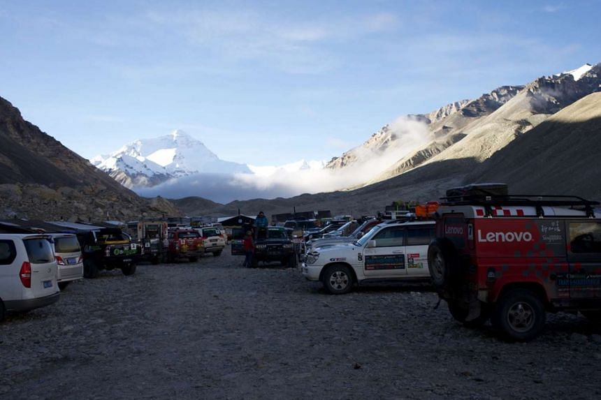 Mr Larry Leong and his friends taking a break in the Himalayas.