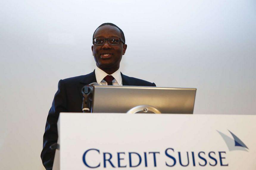 Credit Suisse's Tidjane Thiam speaking during a news conference in Zurich, Switzerland on March 10, 2015.