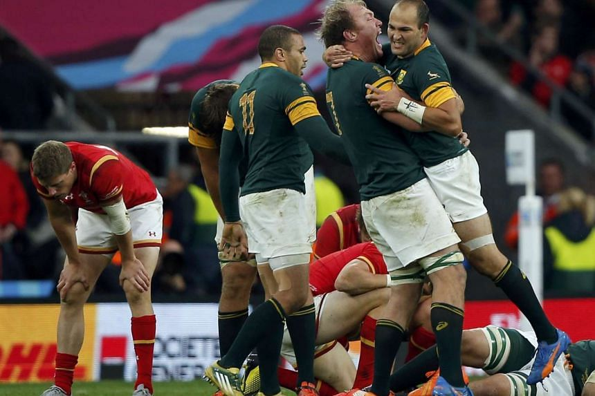 South African players celebrating after defeating Wales in their Rugby World Cup quarter-final match at Twickenham in London on Oct 17, 2015.