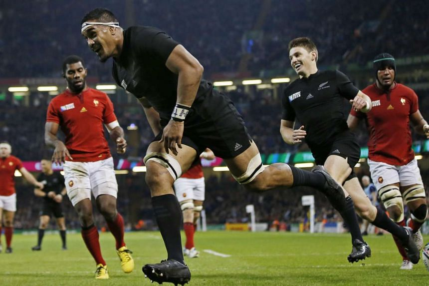 New Zealand's Jerome Kaino celebrating after scoring a try against France in their Rugby World Cup quarter-final match at the Millennium Stadium in Cardiff, Wales, on Oct 17, 2015.