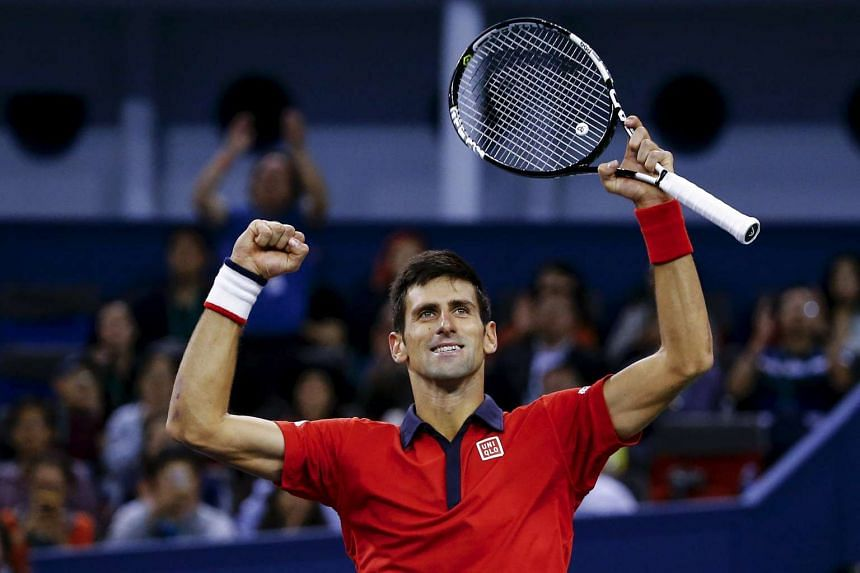 Serbia's Novak Djokovic celebrating after defeating Jo-Wilfried Tsonga of France at the Shanghai Masters on Oct 18, 2015.