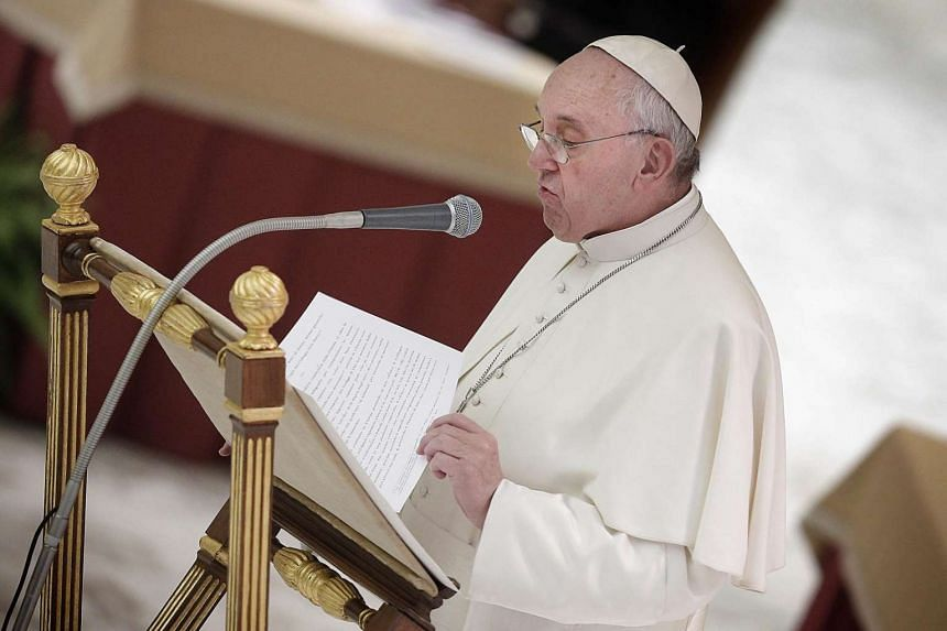 Pope Francis speaks during the commemoration of the 50th Anniversary of the Synod of Bishops at Paul VI Hall, Vatican, Oct 17, 2015. The Synod of Bishops, running from Oct 4 to 25, discusses Catholic positions on controversial subjects such as divorc