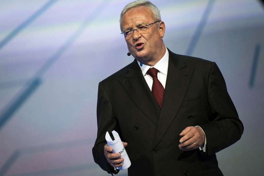 This picture taken on Sept14, 2015 shows former Volkswagen Group CEO Martin Winterkorn at the launch of new vehicles from the German car manufacturer at the Fraport arena prior to the 66th IAA auto show in Frankfurt am Main, western Germany.