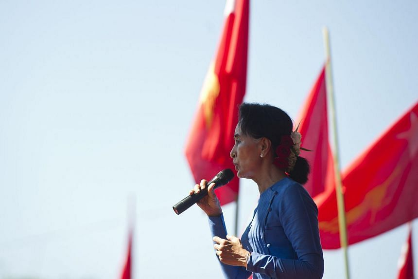 National League for Democracy chairperson Aung San Suu Kyi speaks during a campaign rally at Thandwe city in Rakhine State on Oct 17, 2015.