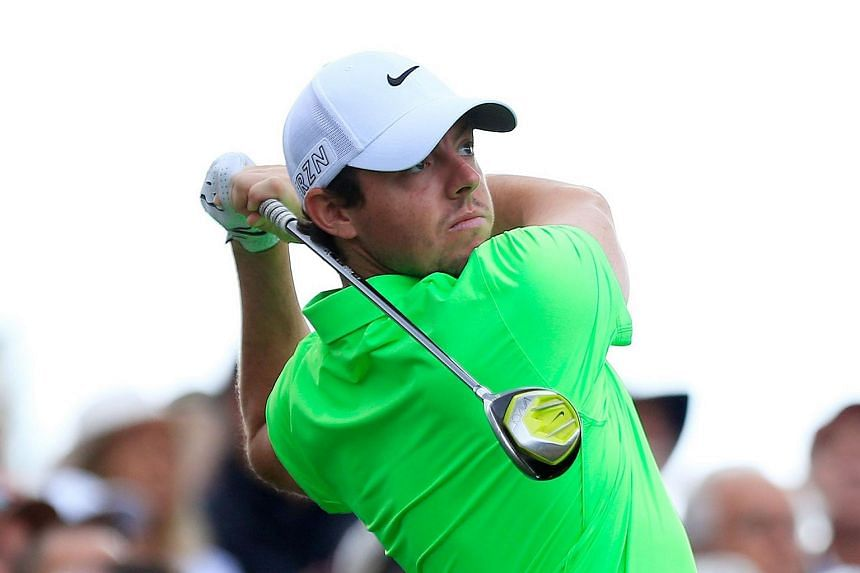 Rory McIlroy of Northern Ireland plays his shot from the second tee during the third round of the Frys.com Open on Oct 17, 2015 at the North Course of the Silverado Resort and Spa in Napa, California.
